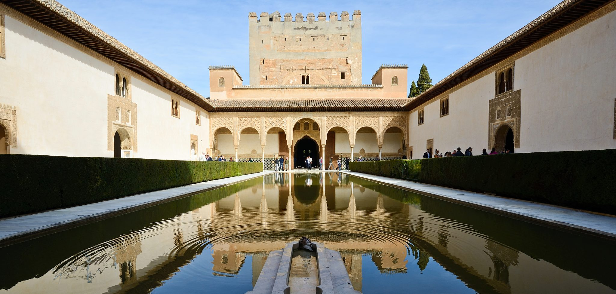 Courtyard of the Myrtles in Alhambra, Granada, Andalusia, Spain